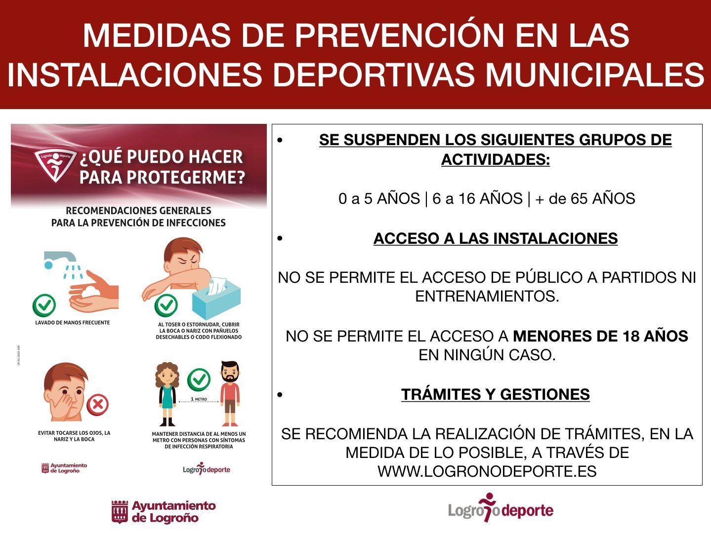 Medidas de prevención en las instalaciones deportivas municipales